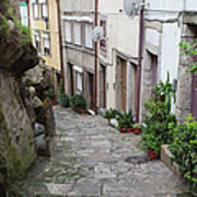 Houses Along Alley In The Old Town Of Porto Art Print