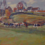 Houses And Cows In Schweiberg Art Print