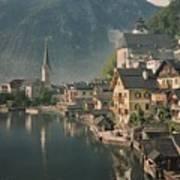 Houses Line The Lake Of Hallstatt Art Print
