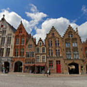Houses Of Jan Van Eyck Square In Bruges Belgium Art Print