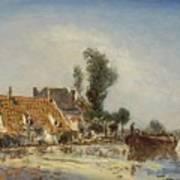 Houses On A Waterway Near Crooswijk Art Print