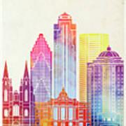 Houston Landmarks Watercolor Poster Art Print