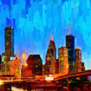 Houston Skyline 102 - Pa Art Print