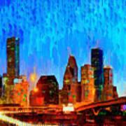 Houston Skyline 110 - Pa Art Print