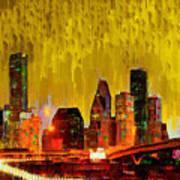 Houston Skyline 111 - Pa Art Print