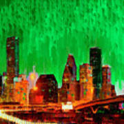 Houston Skyline 112 - Pa Art Print