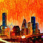 Houston Skyline 116 - Pa Art Print