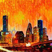 Houston Skyline 119 - Pa Art Print