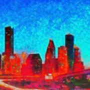 Houston Skyline 131 - Pa Art Print