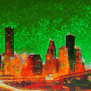 Houston Skyline 133 - Pa Art Print