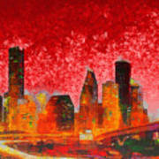 Houston Skyline 134 - Pa Art Print