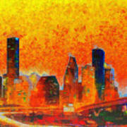 Houston Skyline 135 - Pa Art Print