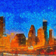 Houston Skyline 40 - Pa Art Print