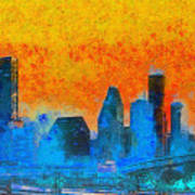Houston Skyline 41 - Pa Art Print