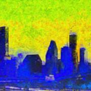 Houston Skyline 42 - Pa Art Print