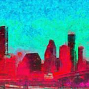 Houston Skyline 44 - Pa Art Print