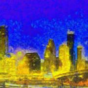 Houston Skyline 45 - Pa Art Print