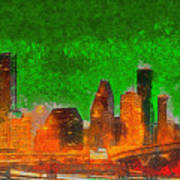 Houston Skyline 48 - Pa Art Print