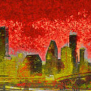 Houston Skyline 50 - Pa Art Print