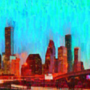 Houston Skyline 87 - Pa Art Print
