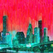 Houston Skyline 91 - Pa Art Print