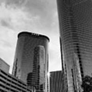 Houston Skyscrapers Black And White Art Print