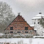 Hovdala Castle Gatehouse And Stables In Winter Art Print