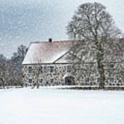 Hovdala Castle Main House In Winter Art Print