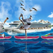 Hoverboarding Across The Atlantic Ocean Art Print