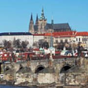 Hradcany - Cathedral Of St Vitus And Charles Bridge Print by Michal Boubin