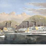 Hudson River Steamships Art Print by Granger