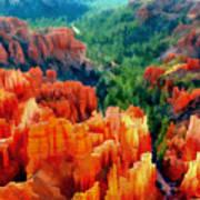 Hues Of The Hoodoos In Bryce Canyon National Park Art Print