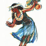 Hula Dancer With Uli Art Print