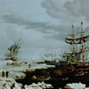Hull Whalers In The Arctic  Art Print by Thomas A Binks