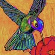 Hummingbird On Yellow Art Print