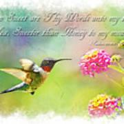 Hummingbird With Bible Verse Art Print