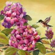 Hummingbird With Rhododendron Art Print