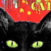 humorous Black cat painting Art Print