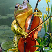 Humorous Scene Frog Playing Cello In Lily Pond Art Print