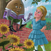 Humpty Dumpty On Wall With Alice Art Print