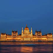 Hungarian Parliament Building At Night In Budapest Art Print