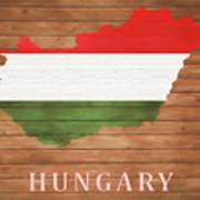 Hungary Rustic Map On Wood Art Print