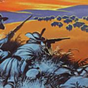 Hunting Buffalo In America Art Print