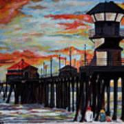 Huntington Beach Pier Sunset Art Print