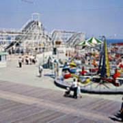 Hunts Pier On The Wildwood New Jersey Boardwalk, Copyright Aladdin Color Inc. Art Print