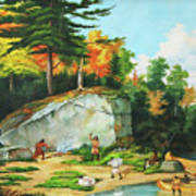 Huron's At A Portage Preparing To Camp Art Print