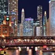 Hustle And Bustle Night Lights In Chicago Art Print