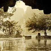 Hut In Tam Coc From A Cave River Art Print