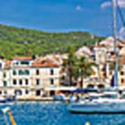 Hvar Yachting Harbor And Historic Architecture Panoramic  Art Print