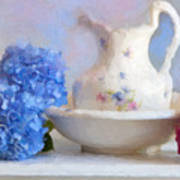 Hydrangea And Wash Basin Art Print